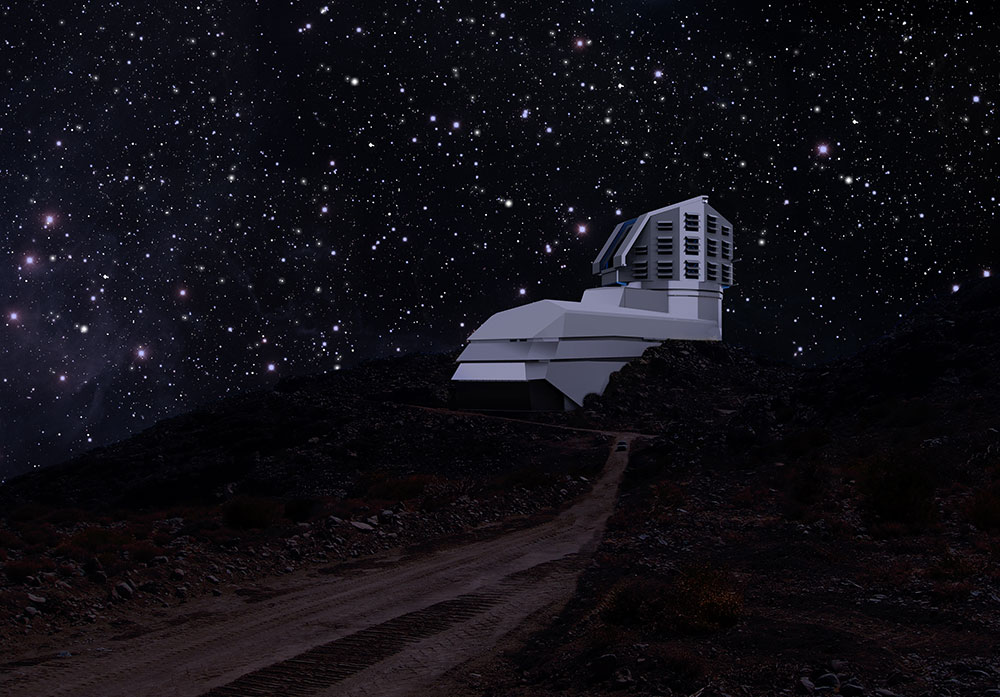 A photograph and a rendering mix, showing a view of the exterior LSST building from the road leading up to the site at night. (March 2011)